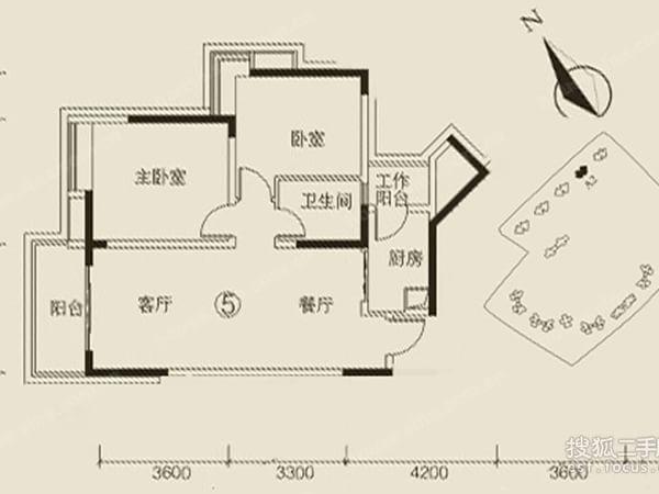 中海誉城 出租房两房两厅