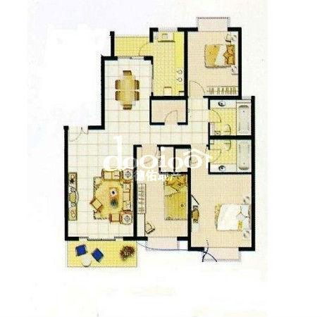 66平方三房设计图