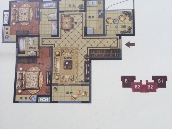 农村70平米1房1厅厨房卫生间房屋设计图