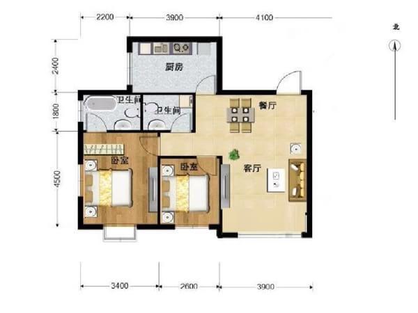 通州区 马驹桥 珠江逸景家园小区 豪华装修 98平米2室2厅厅1卫卫
