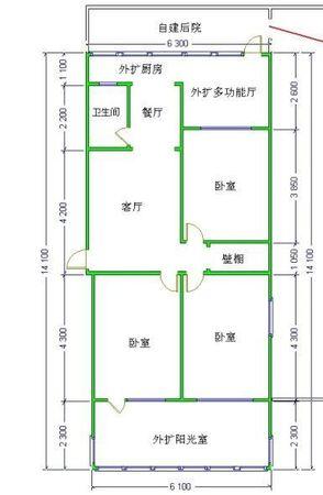 三室田字格户型房子扩