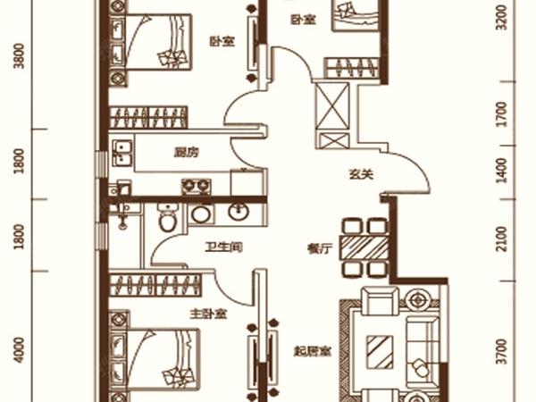 小平房一百平米三室两厅设计图展示