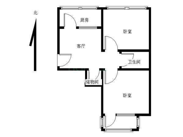[21世纪官方推荐] 中间楼层 白小旁小两居 户型方正