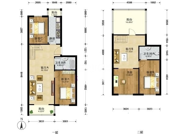 大红门南北通透双层复式 客厅挑高7米loft结构