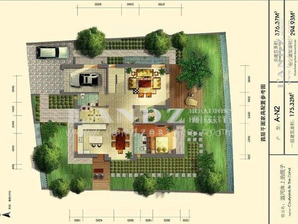 室内庭院手绘平面图