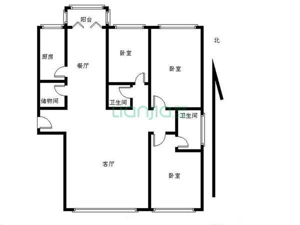 南北通透 精装两室 拎包入住 看房方便-室内图-6