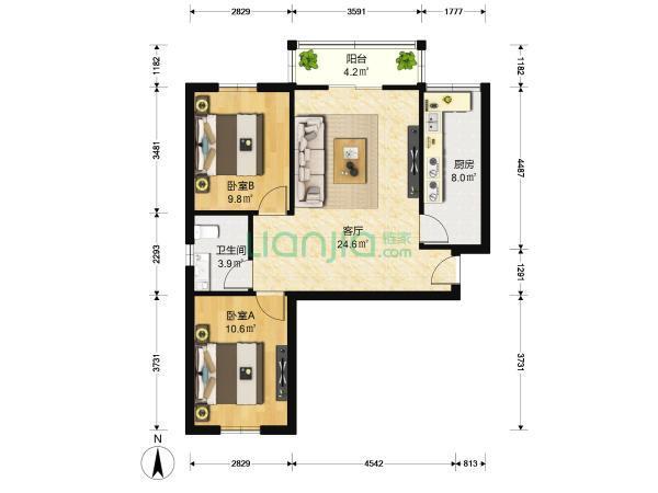 花园伍座 通透户型 精装双阳两室 拎包入住-室内图-5